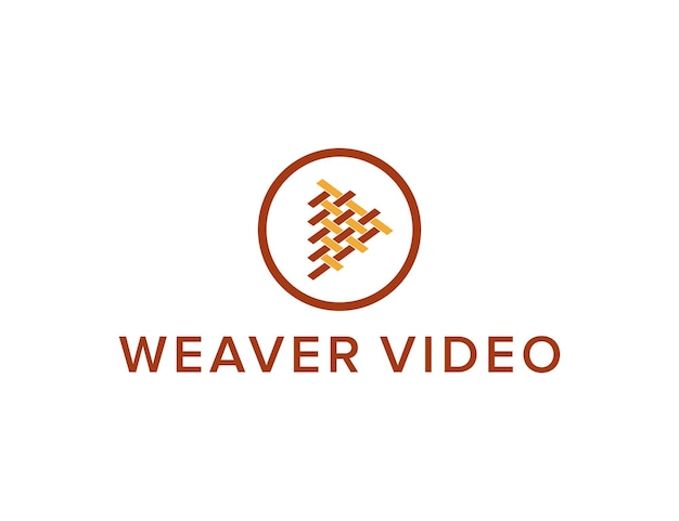 Weaver and play button video simple sleek creative geometric modern logo design