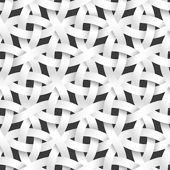 Weaving rounded paper stripes, white seamless pattern