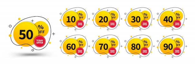 販売タグセット。広告、web、印刷デザイン、マーケティングで使用するためのコンセプトデザイン要素。トレンディなバッジテンプレート、最大10、20、30、40、50、60、70、80、90%オフ。