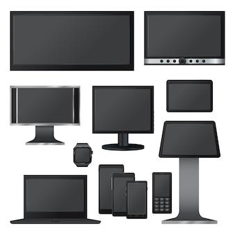 黒い画面モックアップセット。 webの10の黒い画面モックアップのリアルなイラスト