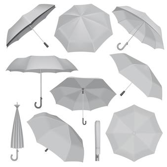 傘モックアップセット。 webの10傘モックアップのリアルなイラスト