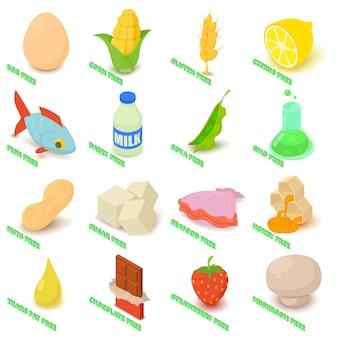 アレルギーフリーのアイコンは、食べ物を設定します。 webの16のアレルギー無料ベクトルのアイコンの等角投影図