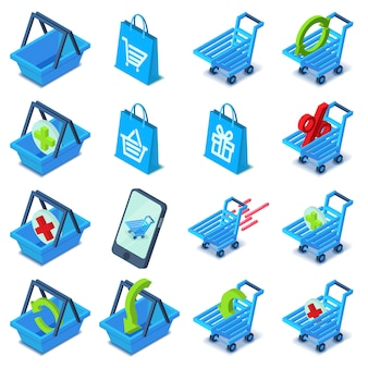 ショッピングカートのアイコンを設定します。 webの16のショッピングカートベクトルアイコンの等角投影図