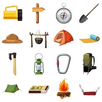 キャンプアイテムのアイコンを設定します。 webの16のキャンプ用品のベクトルのアイコンの漫画イラスト