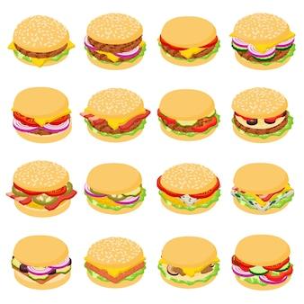ハンバーガーの古典的なアイコンを設定します。 webの16ハンバーガー古典的なベクトルのアイコンの等角投影図