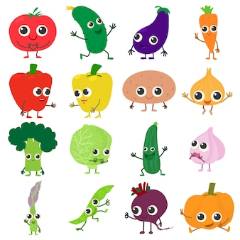 笑顔の野菜のアイコンを設定します。 webの16の笑みを浮かべて野菜ベクトルアイコンの漫画イラスト