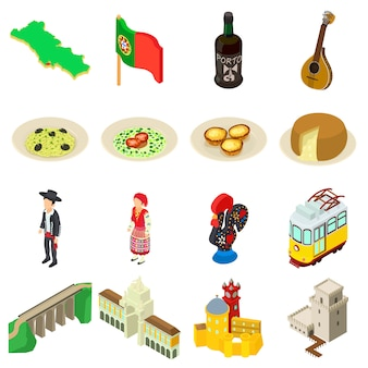 ポルトガル旅行のアイコンを設定します。 webの16ポルトガル旅行ベクトルアイコンの等角投影図