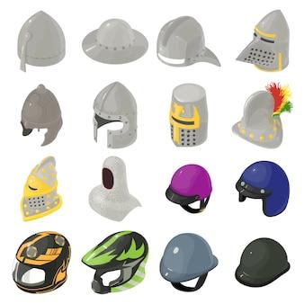 ヘルメット帽子のアイコンを設定します。 webの16のヘルメット帽子ベクトルアイコンの等角投影図