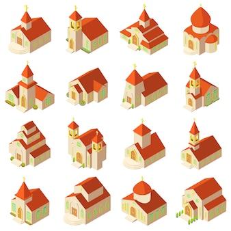 教会の建物の木製のアイコンを設定します。 webのベクトルのアイコンを構築する16の教会の等角投影図
