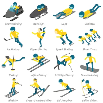 冬スポーツスキースノーボードのアイコンを設定します。 webの16の冬スポーツスキースノーボードベクトルアイコンの等角投影図