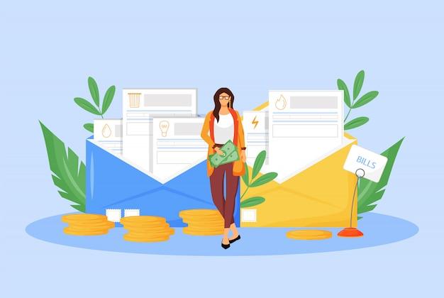 ユーティリティ手形フラット概念図。大人の女性が税金を払ってwebデザインの2 dの漫画のキャラクター。水道、ガス、電気の請求書。通常の費用、法的義務の独創的なアイデア