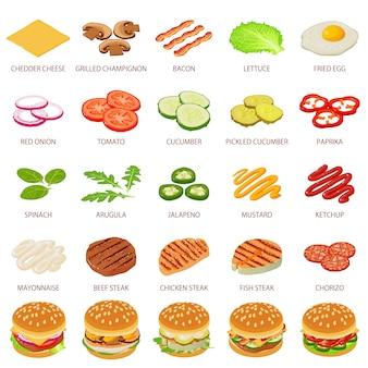 ハンバーガー成分のアイコンを設定します。 webの25ハンバーガー成分食品ベクトルアイコンの等角投影図