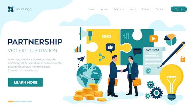 パートナーシップコンセプトのランディングページまたはwebテンプレート。 2人のビジネスマンの握手。当事者の合意。ドキュメントに署名します。投資家はアイデアにお金を入れます。
