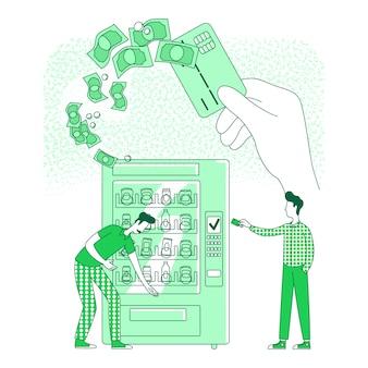 キャッシュレスカードの細い線の概念図。自動販売機で非接触型決済を行っている人々webデザインのための2d漫画のキャラクター。 nfc、電子支払技術の創造的なアイデア