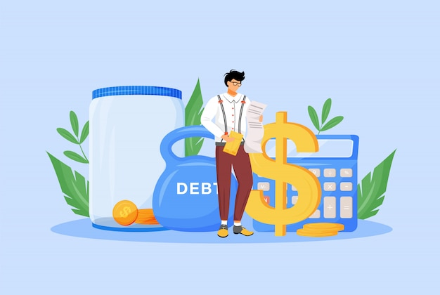 税計算機フラットの概念図。財政学者、経済学者、納税者が請求書を研究webデザインのための2d漫画のキャラクター。財務管理、経済リテラシー、予算監査の独創的なアイデア