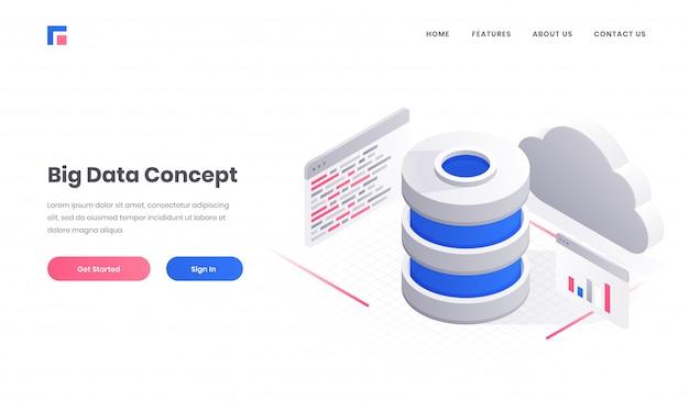 クラウドサーバーとビッグデータコンセプトベースのレスポンシブwebバナーまたはポスターデザインの複数のウェブサイト画面を持つデータベースの3 dイラストレーション。