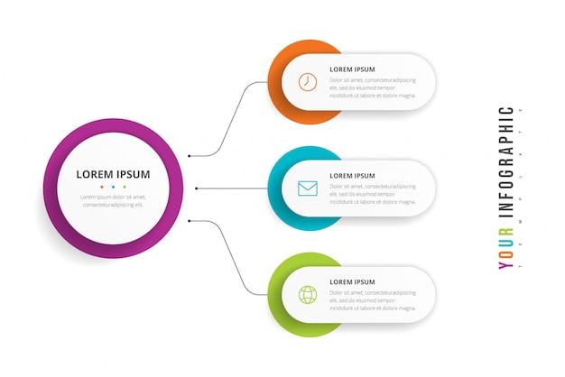 パンフレット、図、ワークフロー、タイムライン、webデザインの3つのオプションを持つビジネスサークルテンプレート。プレゼンテーションインフォグラフィック要素