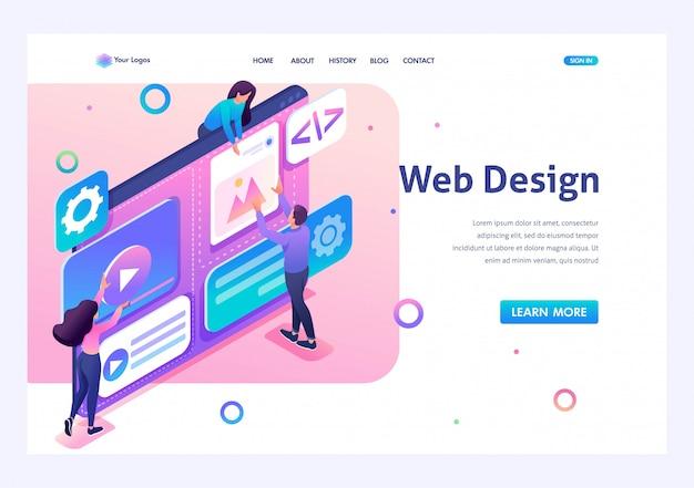 専門家チームは、webデザインの作成に取り組んでいます。チームワークの概念。 3dアイソメトリック。リンク先ページの概念とwebデザイン