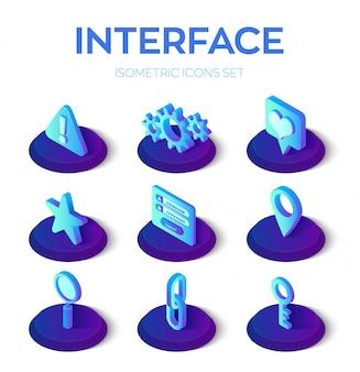 インターフェイスのアイコンを設定します。モバイルおよびweb用のユーザーインターフェイス3dアイソメトリックアイコン。