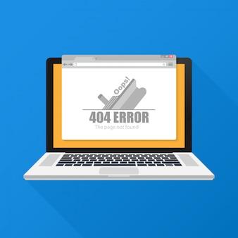 Webサイトの404エラーページテンプレートのモダンなイラスト。
