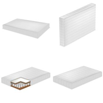 マットレス寝具ベッドモックアップセット。 webの4マットレス寝具ベッドモックアップのリアルなイラスト