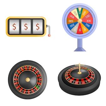 ルーレットホイールフォーチュンスピンゲームモックアップセット。 webの4ルーレットホイールフォーチュンスピンゲームモックアップのリアルなイラスト