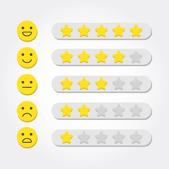フィードバックの概念。 webおよびモバイルアプリの5つ星評価と絵文字スケール