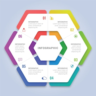 ワークフローのレイアウト、図、年次報告書、webデザインのための6つのオプションを持つ抽象的な3 d六角形インフォグラフィックテンプレート