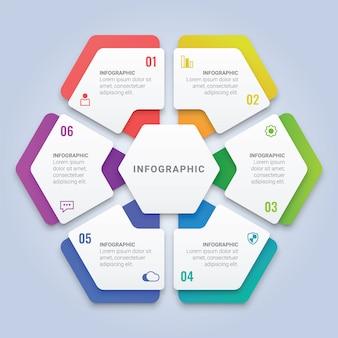 ワークフローのレイアウト、図、年次報告書、webデザインのための6つのオプションを備えたモダンな3 dインフォグラフィック六角形テンプレート