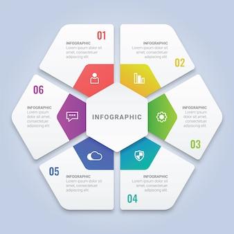 ワークフローのレイアウト、図、年次報告書、webデザインのための6つのオプションを持つ3d六角形インフォグラフィックテンプレート