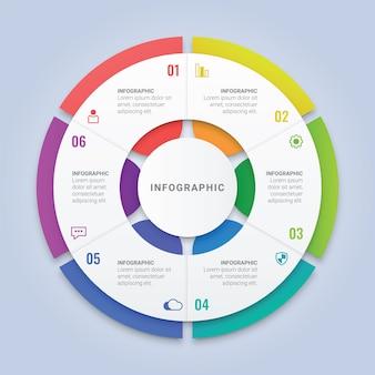 ワークフローのレイアウト、図、年次報告書、webデザインのための6つのオプションを持つサークルインフォグラフィックテンプレート