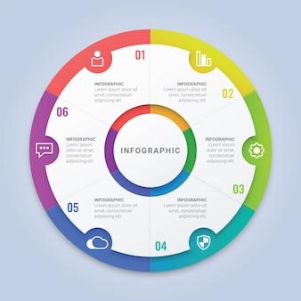 ワークフローのレイアウト、図、年次報告書、webデザインのための6つのオプションを持つモダンなインフォグラフィックサークルテンプレート