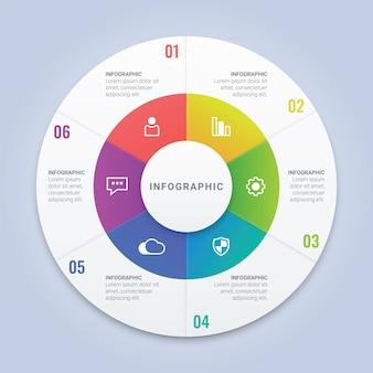 ワークフローレイアウト、図、年次報告書、webデザインのための6つのオプションを持つインフォグラフィックサークルテンプレート