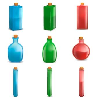 ポーションマジックボトルモックアップセット。 webの9ポーションマジックボトルベクトルモックアップのリアルなイラスト