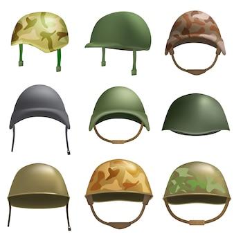 陸軍ヘルメット兵士軍事帽子モックアップセット。 webの9軍ヘルメット兵士軍事帽子ベクトルモックアップのフラットの図