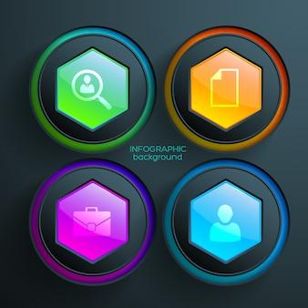 Веб-абстрактная инфографика с красочными глянцевыми шестиугольниками и кругами бизнес-иконок