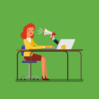 Web advertising and spam concept with cartoon businesswoman and megaphone. flat design, vector illustration.
