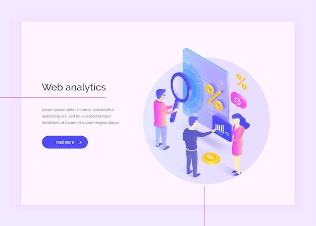 웹 분석 한 그룹의 사람들이 인터페이스의 일부와 상호 작용합니다. 남성과 여성은 모바일 웹 애플리케이션 인터페이스를 연구하고 분석합니다. 이익 분석 현대 벡터 일러스트레이션 아이소메트릭 스타일