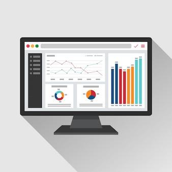 コンピューター画面のフラットアイコンのweb分析情報。トレンドグラフレポートの概念。