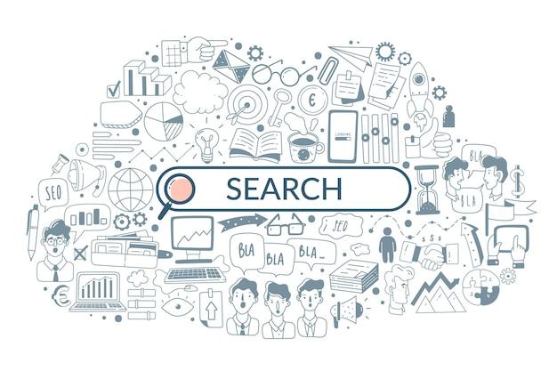 ウェブ解析落書きアイコン検索イラスト