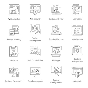 Web analytics line icons pack