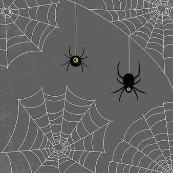 플랫 스타일의 웹과 거미. 어두운 회색 배경입니다. 할로윈. 벡터 일러스트 레이 션. 디자인을 위한 기능 세트