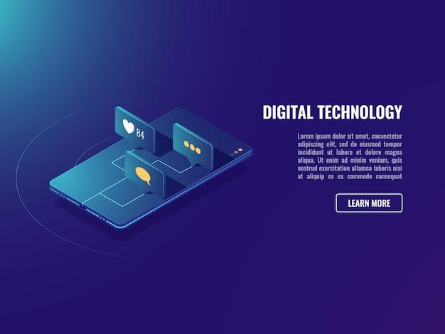 Webアプリケーションとソーシャルメディアのネットワークアイコン