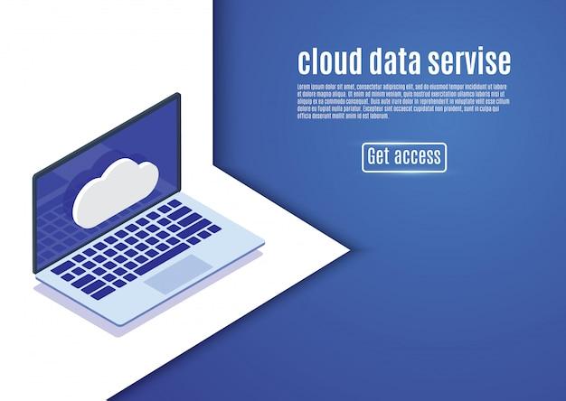 クラウドデータストレージ、webホスティング、青いbackground.computer上の等尺性サーバーイラスト。