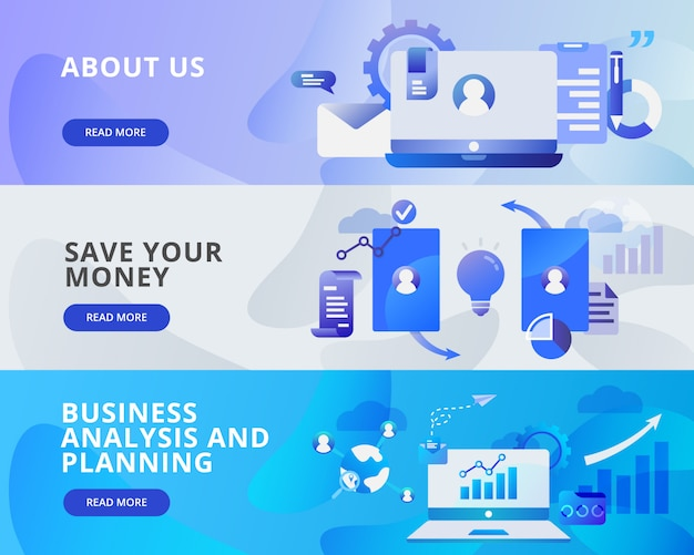 Web banner of about us, save money, business and planning