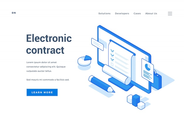 Веб-баннерная реклама электронный договор для бизнеса Premium векторы