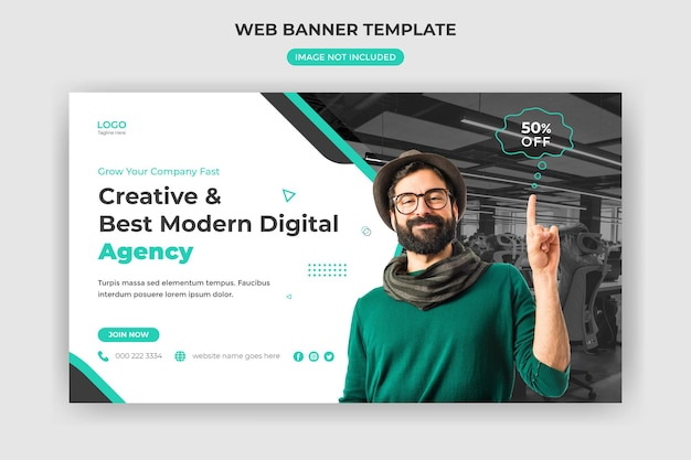 ウェブバナーとウェブサイトカバーデジタルマーケティングエージェンシークリエイティブテンプレートソーシャルメディア投稿