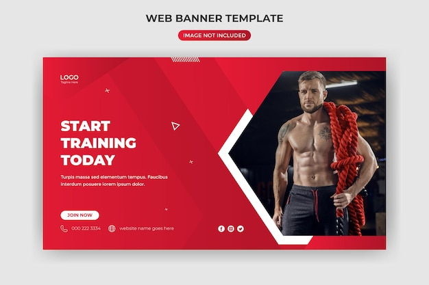 Веб-баннер и обложка веб-сайта фитнес-зал в социальных сетях шаблон сообщения