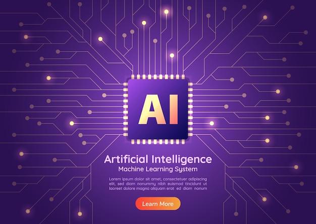 웹 배너 컴퓨터 회로 기판에 인공 지능 ai 칩. ai 및 기계 학습 개념 소개 페이지.