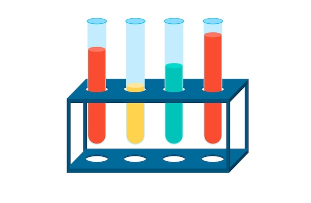 Web banner chemical experiments in the laboratory. vector of a chemical flask or laboratory flask.